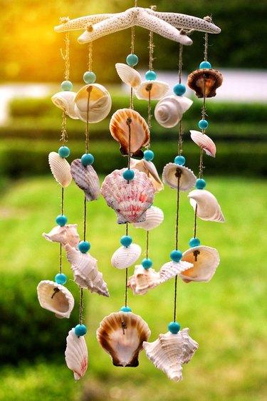 finished seashell wind chime