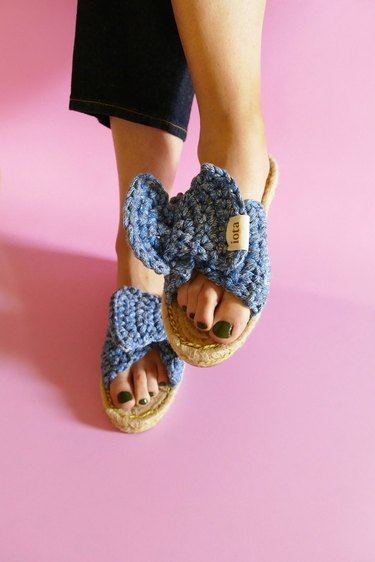 DIY blue crochet sandals