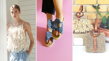 DIY knit tank top, crochet sandals, crochet wristlet