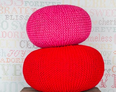 pink and red DIY crochet poufs