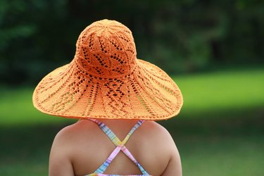 DIY Orange knit summer floppy hat