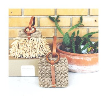 Jute Crochet Wristlet Bags with fringe and without