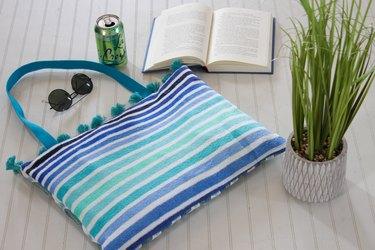DIY beach towel tote bag