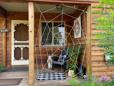 finished giant spider web