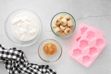 Ingredients for frozen dog treat popsicles