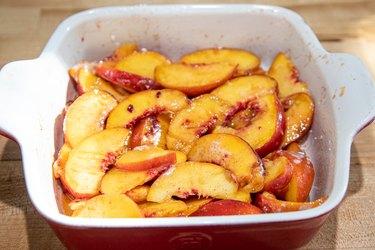 Peaches in a pan