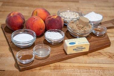 Ingredients for homemade peach crisp