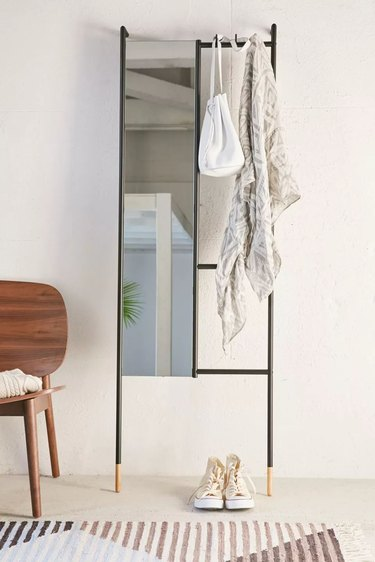 leaning mirror with hooks