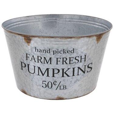 galvanized metal bucket pumpkins
