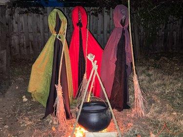 finished 'Hocus Pocus' yard decoration at night