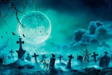 Scary Cemetery Halloween Backdrop by LilyHomeFun
