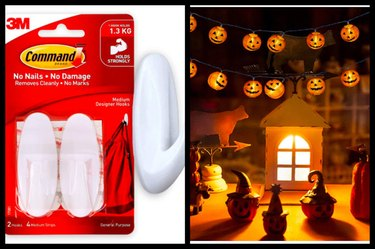 Command Medium Designer Hooks / LED Pumpkin String Lights