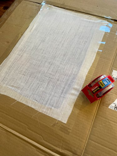 tape fabric to back of opening