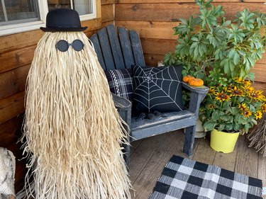 finished Cousin Itt sitting on the front porch