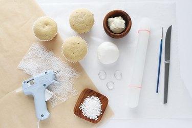 Supplies for bride cupcakes