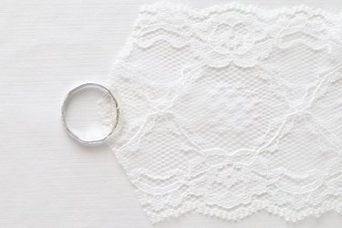Glue the ring to the lace