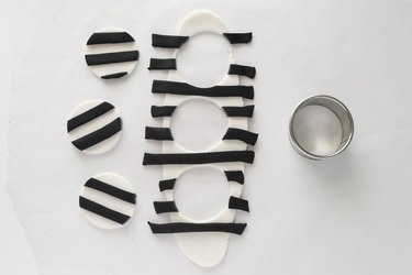 Cut out black and white striped circles