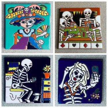Day of the Dead-Themed Hand-Painted Talavera Mexican Tile by ManzanoTiles