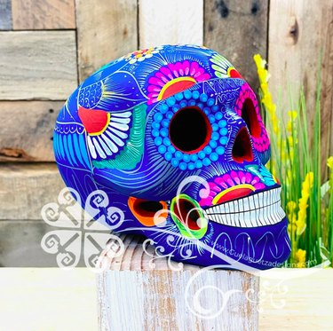 Large Mexican Sugar Skull (Made of Clay) by GuelaguetzaDesigns