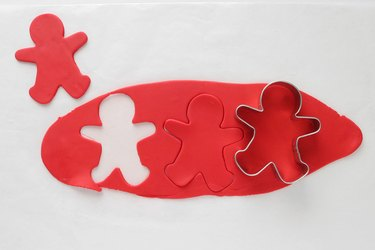 Cut red fondant with cookie cutter