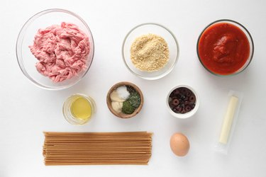 "Ingredients for ""eyeball"" meatballs"