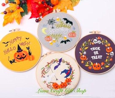 Halloween Embroidery Kit by LunaCraftGiftShop