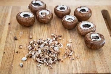 Mushroom caps with chopped stems