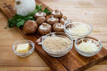 Ingredients for garlic Parmesan stuffed mushrooms