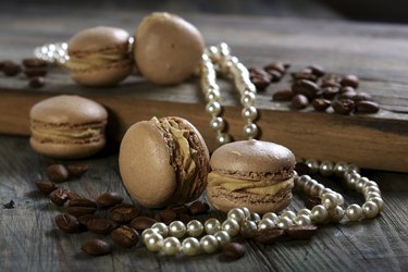 Almond cakes, coffee beans and pearl.