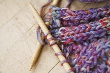 Close-up of knitting needles and yarn