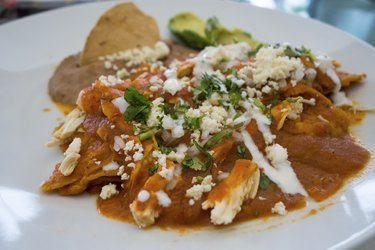 Chilaquiles with Red Sauce