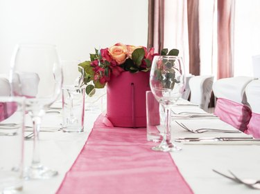 Wedding Party Table with Chairs and table runner