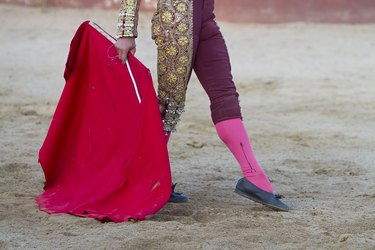 Spanish Bullfighter  with muleta in the arena
