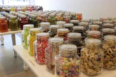 Jars of bulk candy in candy shop