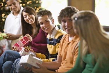 Teenage friends at Christmas