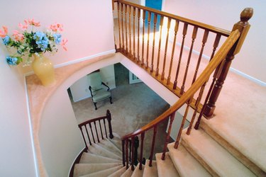 High angle view of staircase in house