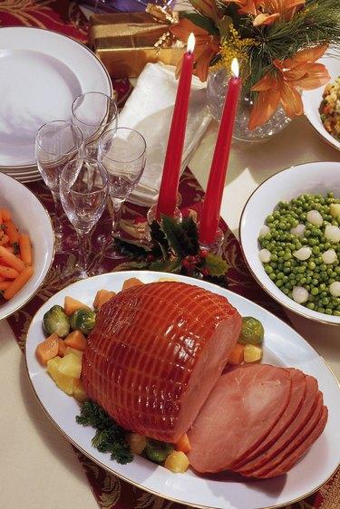 Christmas dinner with ham