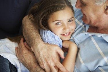 Grandfather and Girl Hugging
