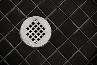 Drain in tile floor