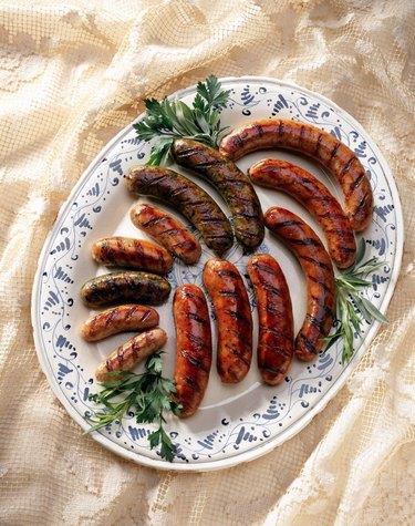 Grilled sausage on serving platter