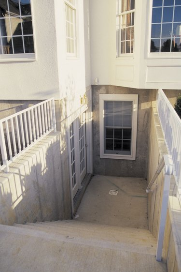 Exterior staircase to basement of home