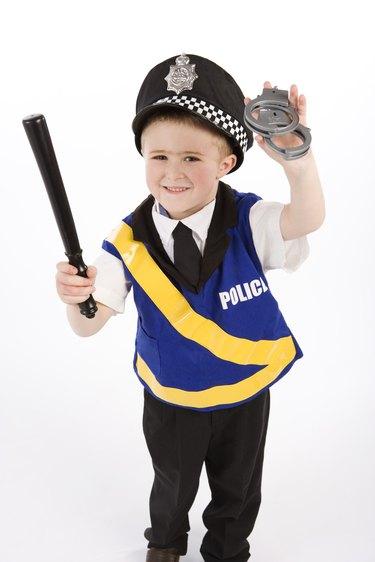 Boy in police costume