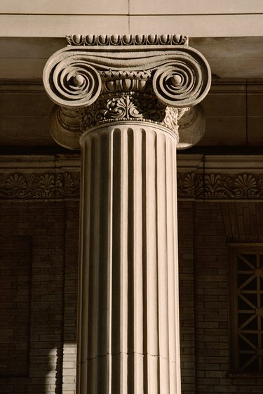 Detail of ionic capital on fluted column