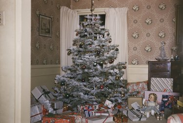Christmas Tree and Presents in 1950s Living Room