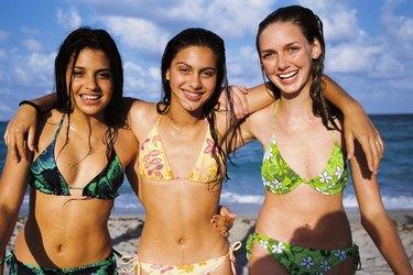Teenage girls at beach