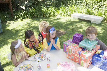 Children in costumes at birthday party