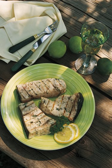 Grilled swordfish on plate