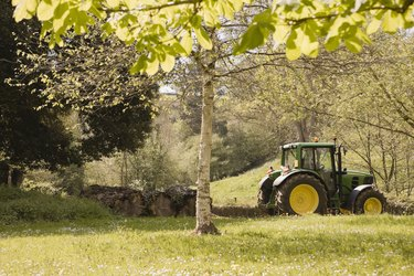 Tractor in meadow