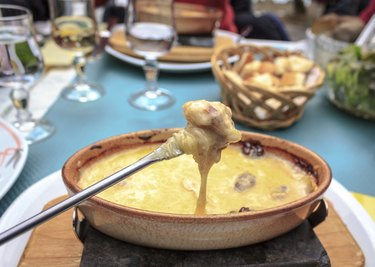 Fondue Fork with Meat and Cheese