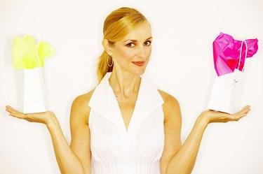 Woman balancing gifts